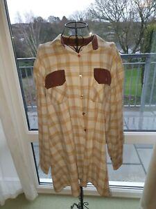 Ladies Xl Bonart Long Sleeve Shirt , Beige Checkered, A-014