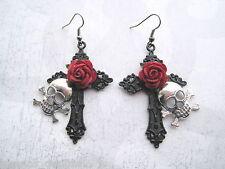 SILVER SKULL BLACK CROSS RED ROSE Large Gothic Earrings Halloween NEW Sugar