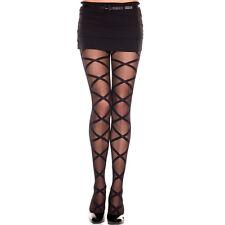 Black Spandex Sheer Criss Cross Pattern Pantyhose One Size Regular  ML7112