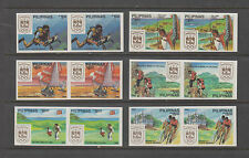 Philippine Stamps 1988 Philippine Olympic Week imperforate pairs set MNH