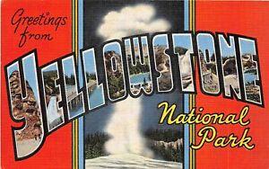 H70/ Yellowstone National Park Montana Postcard Linen Large Letter 181