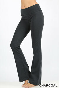 Premium Cotton Fold-Over Yoga Flare Pants Stretchy Workout Everyday Leggings