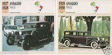 2 FICHES AUTOMOBILE ITALIA CAR ANSALDO TYPE 15 TYPE 22 1927-1930