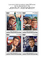 Central African Rep JFK Stamps 2018 MNH John F Kennedy US Presidents 4v M/S