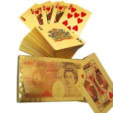 Chapado en Oro 24K 50 Libras Flexible Poker Naipes Navidad Regalos
