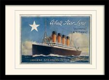 White Star Line Titanic & olímpico impresión montado con marcos y