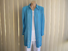 LAURA K 12 OPEN JACKET COLLAR AQUA EMBROIDED FLORAL BOTTOM FRONT POLYESTER