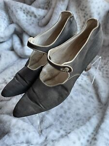 "1920s True Antique Gatsby Flapper Shoes Gold Brocade Wedding Spool Heel 9.5"""