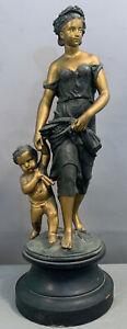 19thC Antique VICTORIAN Era GODDESS & PUTTI Sculpture LADY & CHILD Parlor STATUE