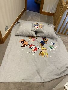 Pottery Barn Paw Patrol Bedpread And 3 Cushions/RRP Over £300/used For 1 Month