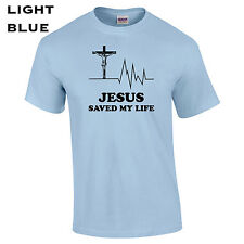 035 Jesus Saved my Life Mens T-Shirt christian love world peace religion god