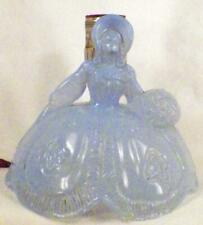 Art Deco Southern Belle Lamp Blue Glass Lady Shell Shade Bedroom Boudoir As Is