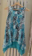 Blue White Black Animal Print Blouse Top Size 8 Summer Beach Sleeveless NEW
