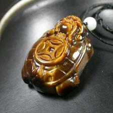 CHINESE CAT TIGER EYE JADE PENDANT Feng Shiu Dragon Turtle Money Coin 279505 US