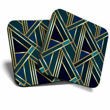 2 x Coasters - Green Gold Art Deco Geometric Home Gift #12546