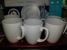 6 Corelle Classic Mugs In White