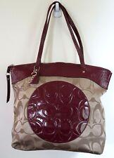 Authentic COACH Signature C Tote LAURA Cream/Wine Large Bag