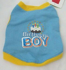 Top Paw Dog Shirt Birthday Boy Dog Shirt Birthday Cake NWT Blue Yellow Size XS S