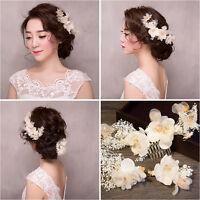 Wedding Bridal Flower Hair Piece White Floral Fabric Crystal Hair Comb&Hair Pins