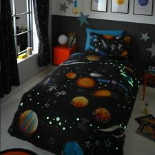 HLC Boys Girls Kids Planets Space Rocket Glow In The Dark Navy Blue Duvet Cover