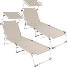 Tectake 2x cama hamaca tumbona aluminio plegable con parasol beige