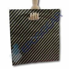 50 Extra Large Black and Gold Striped Gift Shop Boutique Plastic Carrier Bags
