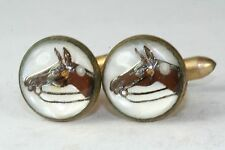 VINTAGE REVERSE PAINTING UNDER GLASS HORSE CUFFLINKS  A