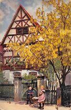 Ak Enfants Avec Poussette de Poupée Rue I. Grüna Carte D'Artiste 1917