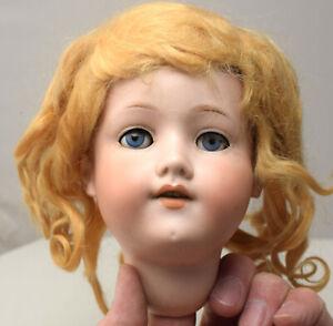 Vintage Armand Marseille 390N A5M Doll Head, Blue Sleepy Eyes, Wig, Needs Repair