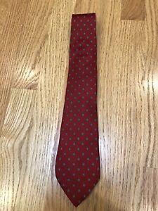 "Mens Christian Dior Tie 100% Silk Neck Tie Red Geometric Pattern Oval 3.25"" Wide"