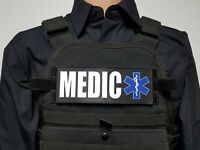 "3x8"" MEDIC Black EMT EMS Morale Patch for Plate Carrier or Chest Rig Ambulance"