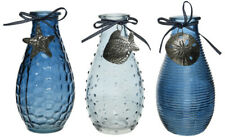 Set of Three Costal inspired Glass vases in Blue with Shell detail