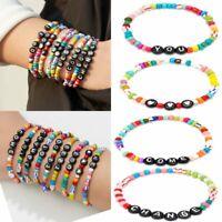 Letter Heart Colorful Beads Seed Beaded Bracelet Bangle Women Friendship Jewelry