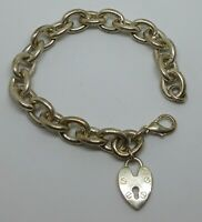 Silver Tone Charm Bracelet With Padlock