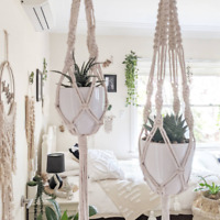 Macrame Plant Hanger With Pot - Natural - Handmade