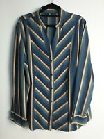 E The Label Women's Striped Long Sleeve Shirt Made In Australia 100% Co Size 18
