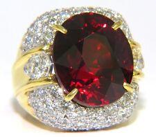 $36000 32.64ct GIA NATURAL RED SPESSARTITE GARNET DIAMONDS RAISED DOME RING 18KT