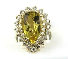 Huge Pear Beryl & Diamond Halo Solitaire Ring 14k Yellow Gold 10.88Ct