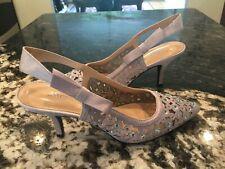 J. Renee Gray Satin Sling back Heels Shoes Pumps Size 9M