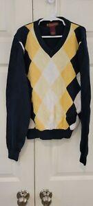Brooks Brothers Boys Navy & Yellow Argyle Supima Cotton Sweater Medium