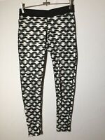 Nike Dri Fit Womens White And Black Patterned Fitness Leggings Size M Good Condt