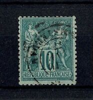 "FRANCE STAMP TIMBRE YVERT N° 76 "" SAGE 10c VERT TYPE II 1876 "" OBLITERE TTB W48A"
