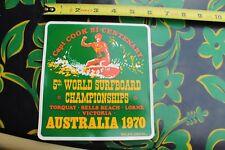 Capt Cook 5th World Surfing Championship AUSTRALIA 1970 XL LARGE Vintage STICKER