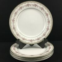 Set of 4 VTG Dinner Plates Noritake Glenwood 5770 Pink Roses Platinum Japan
