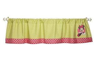 Disney Minnie Mouse Petal Perfect Window Valance Curtain Top Green Pink DOTS
