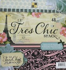 DCWV  Le Tres Chic 12x12  Printed Premium Cardstock Paper Stack with Glitter