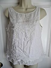 Moulinette Soeurs Anthropologie 0 XS Blouse Top Sleeveless Cotton WhiteEmbrodery