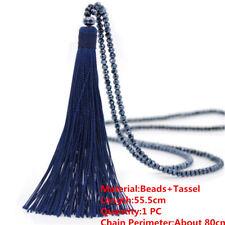 Charm Long Tassel Pendant Women' Crystal Beaded Necklace Sweater Chain Jewelry