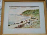 VINTAGE Canadian Folk Art French Quebec Gaspe Peninsula HABITAT VILLAGE Painting