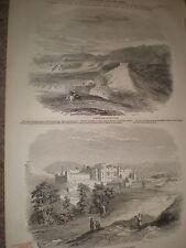 India Punjab views Ribersee fort and palace of Bisuli Rajah 1846 old prints